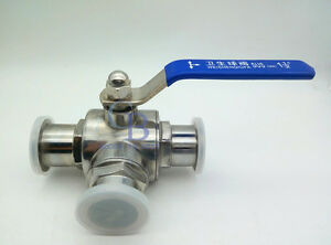 """2.5"""" Stainless Steel 316L Three way L Type Clamp Connection Sanitary Ball valve"""
