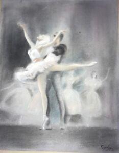 Rare Mid Century-Original  - Ballet Dancers - Pastel - Signed Sophie 1950