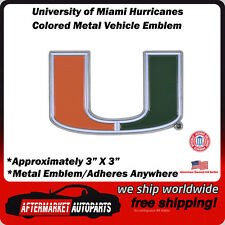 University of Miami Hurricanes Colored Metal Car Auto Emblem Decal Ships Fast