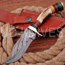 8 INCH UD CUSTOM DAMASCUS STEEL HUNTER KNIFE Stag/ANTLER  HANDLE B4-11533