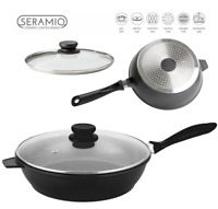 Nea 24cm Saute Pan Induction Gas Electric Hob Non Stick Glass Lid Deep Fry Black