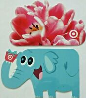 Target Gift Card LOT of 2 Die-Cut Elephant & Flowers - 2006 & 2008 - No Value