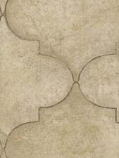 Wallpaper Large Faux Tile Trellis in Cream Tan Taupe