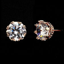 Rose Gold Filled Women Clear Crown Stud Earring Made With Swarovski Crystal XE18