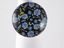 Bague Argentée Ronde Fleurie Noir Bleu Vert Papillons Réglable
