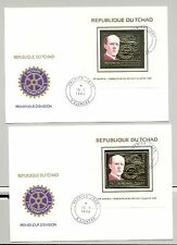 Chad 1984 Paul Harris, Rotary 1v Gold Deluxe S/S Perf & Imperf on 2 FDC