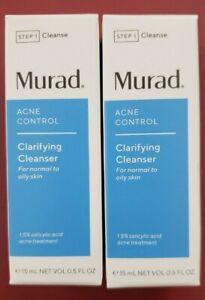 2x Murad Acne Control Clarifying Cleanser 15mL ea NIB 1.5% Salicylic Acid