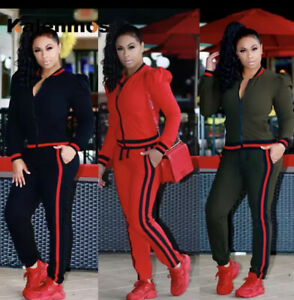 Striped Ladies Fitted Jogging Suit