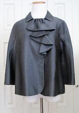 $995 Moschino Cheap And Chic Gray Metallic Silk Ruffle A-Line Jacket Blazer 8 M