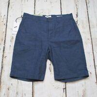 Goodfellow & Co Mens 30W Linden Flat Front Khaki Shorts Navy Blue Gray Stripe