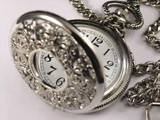Vintage Victoria Flower Style Pocket Watch Stainless Steel Gift Box WTP1059