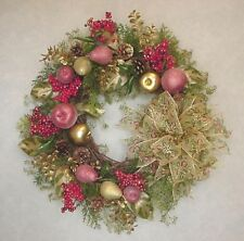CHRISTMAS SUGARED FAUX FRUIT VICTORIAN FARM COUNTRY HOLIDAY RIBBON BOW WREATH