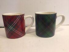 Williams Sonoma Red & Green Tartan Mugs - Set of 2