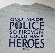 Police Dept vs Fire Dept HPD Hawaii LS T-shirt 2XL Gray Honolulu God made Police