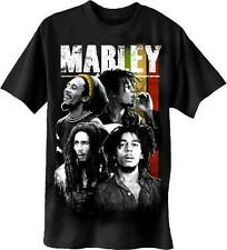 BOB MARLEY COLLAGE 4 FACE T-SHIRT USA IMPORT BLACK  FRONT PRINT MACHINE WASHABLE