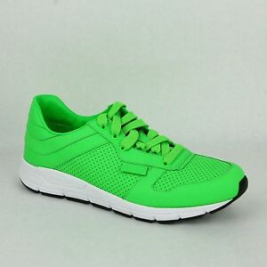 New Gucci Mens Neon Green Leather Lace-up Running Sneakers 369088 3707