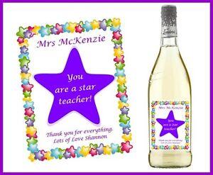 Personalised End of Term Xmas Gift For Teacher Wine Gin Vodka Bag Bottle Label