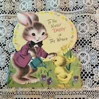 Vintage Greeting Card Easter Daddy Bunny Rabbit Norcross Chick