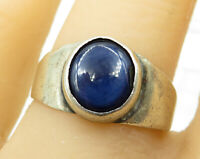 925 Sterling Silver - Vintage Blue Cat Eye Solitaire Ring Sz 8 - R4016