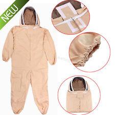 Full Body Bee Keeping Suit w/Veil Hood Beekeeper Equipment Khaki Cotton L/XL/XXL