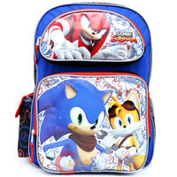 """Sonic The Hedgehog Large School Backpack 16"""" Book Bag Knuckles Tail Sonic Boom"""