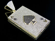 "Men's 10K Yellow Gold Genuine Diamond Iced Ace Spade Pendant Charm 1 3/5 Ct 1.9"""