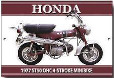 HONDA ST50 MINIBIKE METAL SIGN.VINTAGE HONDA MOTORCYCLES,PADDOCK BIKE.
