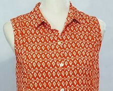 J Jill Womens Small Sleeveless Shirt Blouse Orange Red White Button Front Rayon