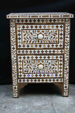 Wooden Wood Inlay White Floral Two Drawer Solid Wood Bedside Table Nightstand