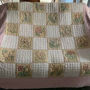 Vintage hand embroidered hand quilted pink flower quilt