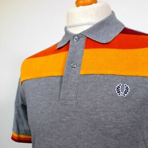 """Fred Perry Towelling Stripe Polo (M/40"""" - Grey Marl ) Mod 60's Casuals Scooter"""