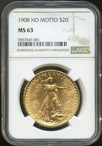 1908 NM $20 Saint Gaudens Gold Double Eagle NS 63 NGC, Nice Surfaces!