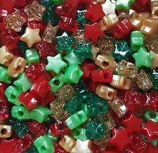 50 Christmas Stars Pony Beads Red Gold Green Glitter Hair Braiding Dummy Clips