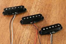 GUITAR PICKUPS VINTAGE OUTPUT ALNICO 2 MAGNETS SET OF 3 BLACK FOR STRATOCASTER