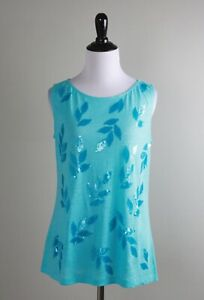 TOMMY BAHAMA NWT $68 Linnea Sequin Embellished Linen Tank Top Size Small