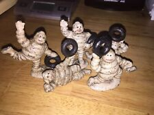 Michelin Tire Men 5 Piece SET Cast Iron Collector Paperweight Patina YOU GET ALL