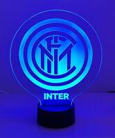 Lampada 3D INTER led luce notturna multicolor rgb inciso idea regalo calcio A