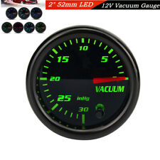 52mm 7-Color Mechanical Vacuum Intake Gauge Digital Meter Red Illuminated Needle