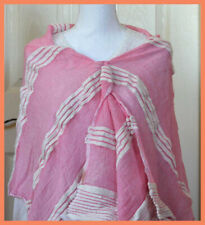 Ethiopian Cotton Pink Color Stole, Wrap with White Woven Stripes From Ethiopia!