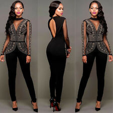 NUOVO Taglie Forti Nero Strass/Mesh Tuta Catsuit Party Club Wear Tg UK 14