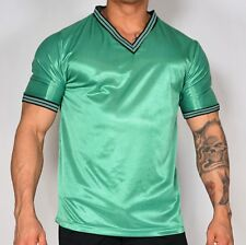 Men'S Green Shiny Soccer Shirt L