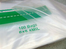 "100 Ziplock 8 x 8 Reclosable Clear Plastic Square  Bags 4 Mil 8"" x 8"" Heavy Duty"