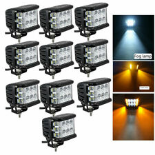 "10x 4"" Inch LED Work Light Bar White & Amber Strobe Lamp Combo For ATV SUV TRUCK"