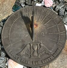 Heavy Cast Iron Sundial I Count None But Sunny Hours Eagle Bird Worn Brass Look