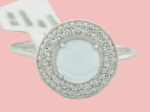 AQUAMARINE 0.76 Cts & WHITE SAPPHIRES RING .925 Sterling Silver NWT SIZE 6