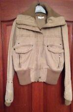 Topshop. Short Bomber Jacket. Siz 10.(Petite)Knitted Collar & Cuffs/Lower Price.