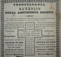 Antique Temperance Prohibition Abstinence Pledge Card St Thomas Bedford PA 1844