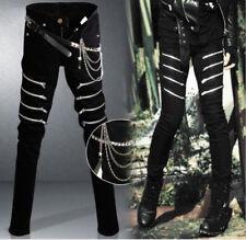 Men's Denim Black Straight Long Pants Gothic Punk Zipper Chain Slim Trousers