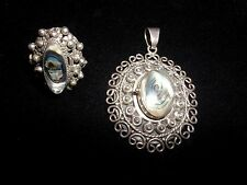 VINTAGE STERLING SILVER ABALONE RING & PENDANT SIGNED B IN A CIRCLE MEXICO