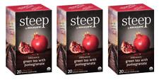 Bigelow Steep Organic Pomegranate Green Tea - 3 Boxes - 60 Tea Bags
